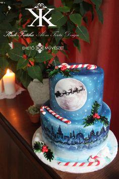 Santa Claus is coming to town - Cake by Fatiha Kadi Christmas Cupcakes, Christmas Desserts, Christmas Treats, Christmas Baking, Merry Christmas, Pretty Cakes, Beautiful Cakes, Amazing Cakes, Patisserie Cake