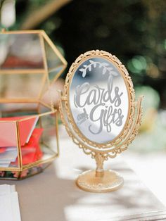 Handmade Metallic Gold Vanity Double-Sided Table Mirror / Wedding Decor / Gift Card Sign / Dessert Bar / Cocktail Menu / Guest Instagram