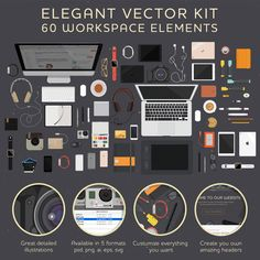 Set of 60 workspace illustrations of items that many web and graphic designers…