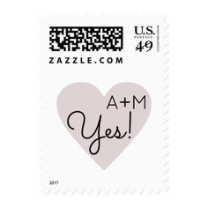 Yes! heart of love  bride&groom initials wedding postage - married gifts wedding anniversary marriage party diy cyo