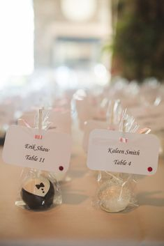 Wedding Cake Pops with Escort Cards | KariMe Photography https://www.theknot.com/marketplace/karime-photography-columbus-oh-636651 | Bride's Best Friend |