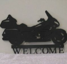 Motorcycle Welcome Sign Metal Art Silhouette