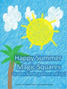 FREE Summer Vocabulary Word Scramble Magic Square Puzzle