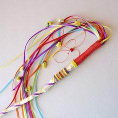 Valentine Fantasy Festival Wand  Red, Yellow, Orange Purple, Green Ribbons Beads via Etsy.