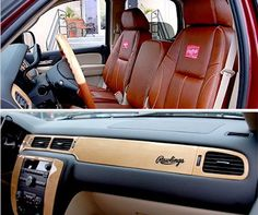 Nice Car Interior Outfitted With Rawlings Baseball Glove Leather.