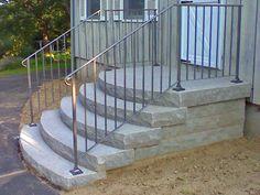 20 New Ideas Concrete Porch Remodel Front Steps Concrete Front Steps, Brick Steps, Concrete Porch, Concrete Stairs, Precast Concrete, Outdoor Steps, Indoor Outdoor, Front Porch Remodel, Round Stairs