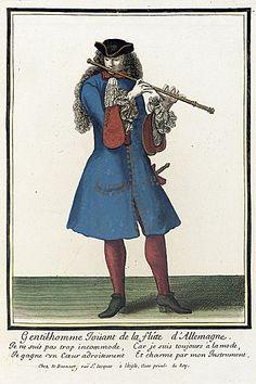 Nicolas Bonnart (1637 - 1717)   Recueil des modes de la cour de France, 'Gentil-homme Ioüant de la Flûte d'Allemagne', circa 1678-1693