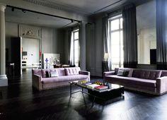 monochromatic dark walls and drapes