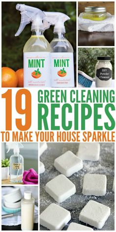 19 Green Cleaning Recipes to Make Your House Sparkle - Get your home clean while keeping your kids and pets safe. These green cleaning recipes are just as effective as store-bought cleaners! Green Cleaning Recipes, Natural Cleaning Recipes, Deep Cleaning Tips, House Cleaning Tips, Cleaning Solutions, Spring Cleaning, Cleaning Hacks, Diy Hacks, Diy Home Cleaning