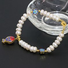 Classical design 6*8mm natural white freshwater cultured button abacus pearl beads bracelets cloisonne jewelry 7.5inch B2757