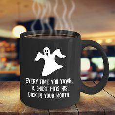 Ghost Mug - Ghost Yawn - Spooky Cups Scary Coffee Mug Weird Mug Funny Adult Mug Profanity Gift 11 oz Black Cup Funny Coffee Mugs, Funny Mugs, Coffee Drinks, Coffee Cups, Funny Ghost, Coffee Facts, Customised Mugs, Couple Mugs, Teapots And Cups