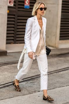 PERFECT MATCH A white blazer and jeans is an easy summer switch-up to a suit