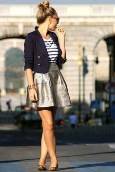 gold skirt and navy. the best part of this look are the flats.... i never wear heels...