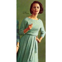 Crafts VINTAGE  KNITTING PATTERN 1950's DRESS W BEADED FRONT PANELS