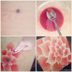 Use raspberry juice in place of wood stain... you can create amazing artwork on wood! {Sawdust and Embryos}