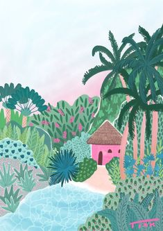 Tropical tiki hut illustration by Tink. I drew this jungle beach in Adobe Fresco, daydreaming about living in a tropical paradise Jungle Illustration, Mouse Illustration, Botanical Illustration, Digital Illustration, Friends Illustration, Landscape Illustration, Jungle Art, Jungle Drawing, Tropical Art