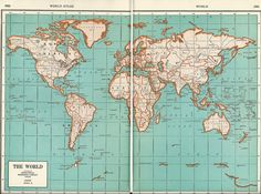 1937 Map of The World from World Atlas.