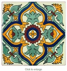 These Mexican Talavera tiles with colorful geometric floral designs are all handmade in Mexico. Use these colorful hand painted tiles for decorative accents on counters, bathrooms, vanities, tabletops, window surrounds and more. Ceramic Tile Art, Ceramic Painting, Mosaic Tiles, Contemporary Tile, Tuile, Spanish Tile, Glazes For Pottery, Decorative Tile, Tile Patterns