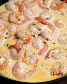 Receta de camarones al ajillo Shrimp Dishes, Shrimp Recipes, Fish Recipes, Mexican Food Recipes, Healthy Dinner Recipes, Cooking Recipes, Food Porn, Love Food, Food And Drink