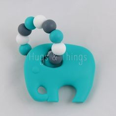 Bijtring / Chewing Toy: Turquoise and Grey Elephant