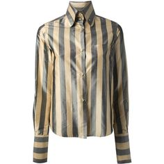 Romeo Gigli Vintage Striped Shirt ($313) ❤ liked on Polyvore featuring tops, button shirt, long-sleeve shirt, striped button-down shirts, long sleeve tops, button front shirt and striped long sleeve shirt