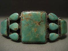 "Mind blowing vintage navajo """"natural turquoise"""" silver bracelet"