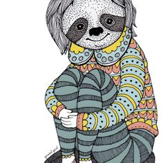 A4 Print 'Sloth Girl' by GretelGirlDraws on Etsy