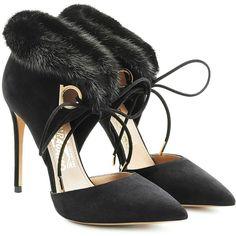 Salvatore Ferragamo Suede Pumps ($825) ❤ liked on Polyvore featuring shoes, pumps, black, black pumps, pointed-toe pumps, black stiletto pumps, black lace up pumps and pointed toe stilettos