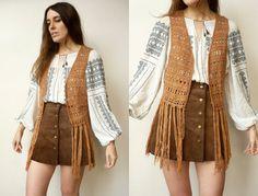 Vintage Bohemian Crochet Tassel Festival Waistcoat by 5678Vintage