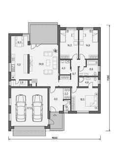 Projekt bungalovu Linear 318 | Energy-Domy 2bhk House Plan, Dream House Plans, House Floor Plans, Facade House, Flat Roof House, Modern House Facades, Modern Architecture House, Futuristic Architecture, Modern Houses