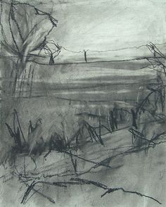 'Landscape Study I', Janine Baldwin, charcoal on paper, 26 x 21cm #LandscapeDrawing