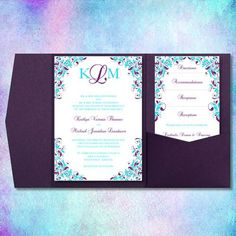 Downloadable purple and turquoise wedding invitation - http://themerrybride.org/2015/07/04/purple-and-turquoise-wedding/