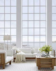 Floor to ceiling window, beach house.