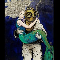 Custom Original artwork prints 12x18 Mermaid and deep sea diver painting by nancyinwonderland