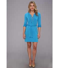 MICHAEL Michael Kors Chain Solid Knit Tie Dress Summer Blue - Zappos.com Free Shipping BOTH Ways