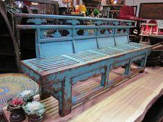 Carved Blue Bench mixfurniture.com
