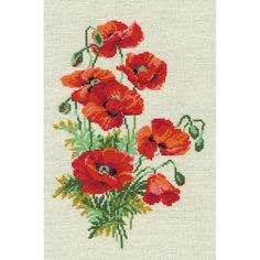 """Wild Poppies Counted Cross Stitch Kit-8.25""""X11.75"""" 16 Count"""