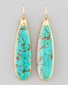 Turquoise Teardrop Earrings by Devon Leigh at Neiman Marcus.
