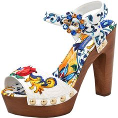 Dolce & Gabbana Printed Brocade Clog ($945) ❤ liked on Polyvore featuring shoes, clogs, floral print shoes, dolce gabbana shoes, flower pattern shoes, floral high heel shoes and round cap