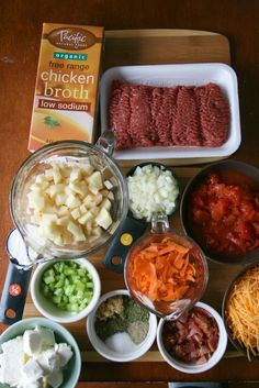 ~Crockpot Bacon Cheeseburger Soup~ 1 lb ground beef; 1 cup onions, diced; 2 cups shredded sharp cheddar cheese; 1 can (14.5 oz) diced tomatoes; 5 strips of bacon, cooked and crumbled; 1/2 cup celery, chopped; 1 cup carrots, shredded; 2 cups potatoes, cubed; 8 oz cream cheese, cubed; 4 cups chicken broth; 1/4 cup flour; 1 cup milk; 3-4 garlic cloves, minced; 1 tsp salt; 1/2 tsp pepper