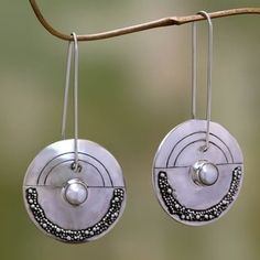Moonlight Sand Unique Artisan White Freshwater Pearls Set in 925 Sterling Silver with Long Wires Dangle Earrings (Indonesia)