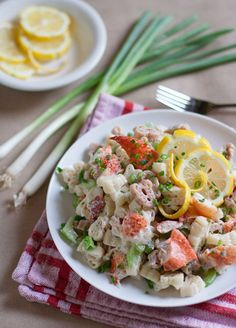 Lobster Pasta Salad is a luscious treat combining fresh chunks of lobster and a creamy dressing with hints of Old Bay, fresh lemon juice, and more!