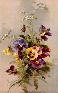 French Spring Pansies Print Catherine Klein by VictorianRosePrints Victorian Flowers, Vintage Flowers, Art Floral, Catherine Klein, Illustration Blume, China Painting, Floral Illustrations, Botanical Prints, Oeuvre D'art