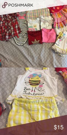 Lot of 18 month tops 1 onesie, 6 short sleeve tops, 1 dress, 1 yellow outfit with shorts and top. Total of 10 pieces. Shirts & Tops Tees - Short Sleeve