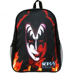KISS The Demon Back Pack Backpack The Demon Face Art & Logo (Padded Shoulder Strap With Flame Detail, Padded Mesh Back & KISS Logo Embroidery On The Back) (38cm Long x 44cm Tall x 18cm Wide)  #rockabilia #merchandise #merch #music  #entertainment #bands #metal #rock #backpack #travel #bag #genesimmons #demon #kiss