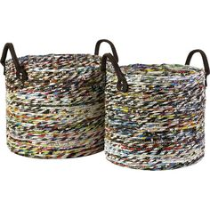 """Two baskets handmade with recycled magazine strips.Product: Small and large basketConstruction Material: Recycled magazine paper and vinylColor: MultiFeatures: Recycled magazine strip construction is environmentally friendlyHandles for easy carryingDimensions: Small: 13"""" H x 11.25"""" DiameterLarge: 14"""" H x 12.75"""" Diameter"""