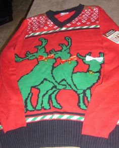 e298da47b2e4 UGLY CHRISTMAS SWEATER THREESOME REINDEER UNISEX RED & GREEN ADULT  SMALL NEW #SPENCERS #