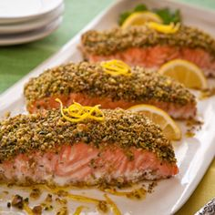 Salmon Recipes | Grilled Pine Nut and Feta Encrusted Salmon