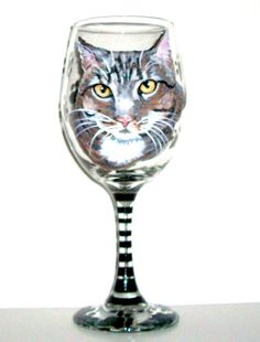 Cat Pet Portrait Hand Painted  One Glass by SharonsCustomArtwork, $40.00