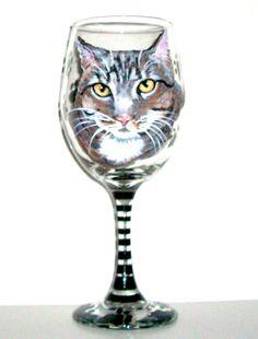 Hand Painted Wine Glass Cat Pet Portrait by SharonsCustomArtwork